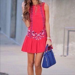 Xhilaration Red Embroidered Dress | M